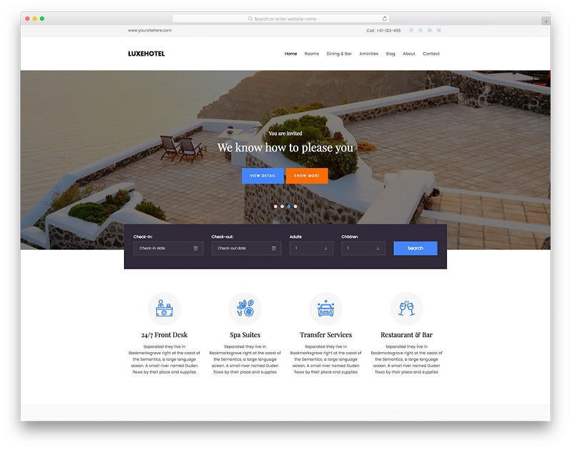 free HTML5 hotel website template