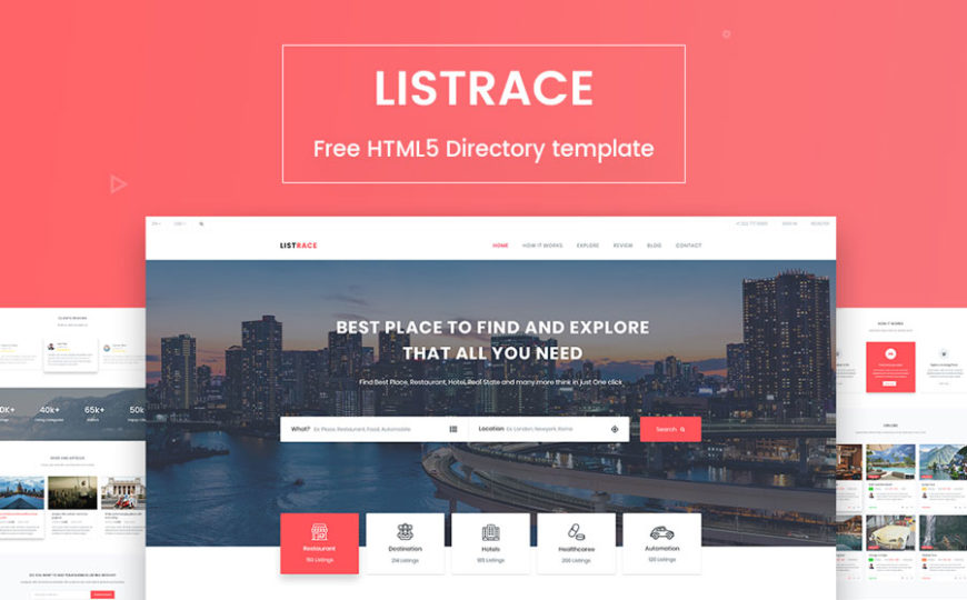 free responsive directory list template listrace banner