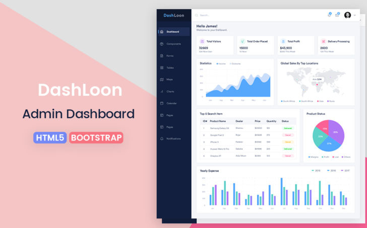 dashloon bootstrap html5 admin dashboard responsive template free