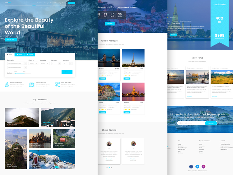 tournest travel agency free html5 responsive template by themesine