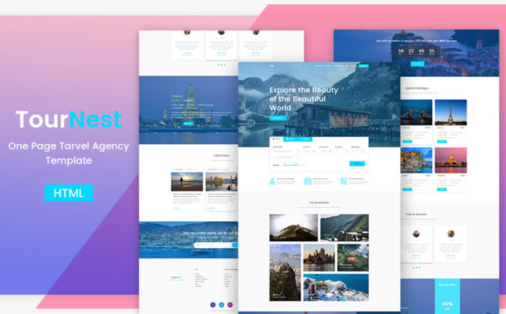 travel agency HTML5 website responsive template by themesine