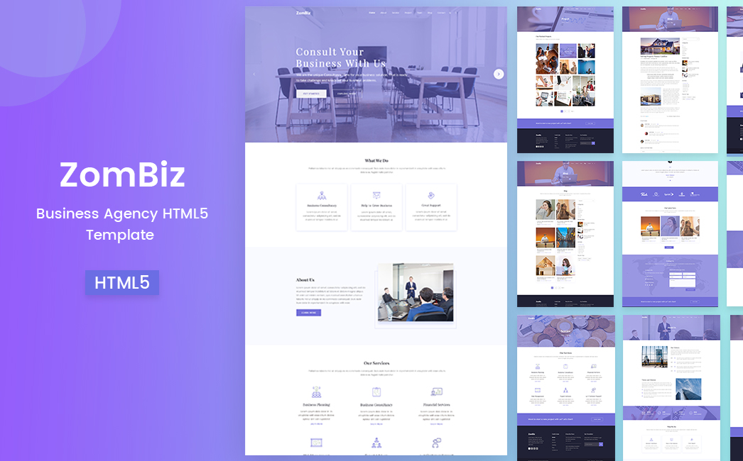 zombiz free agency html5 template by Themesine