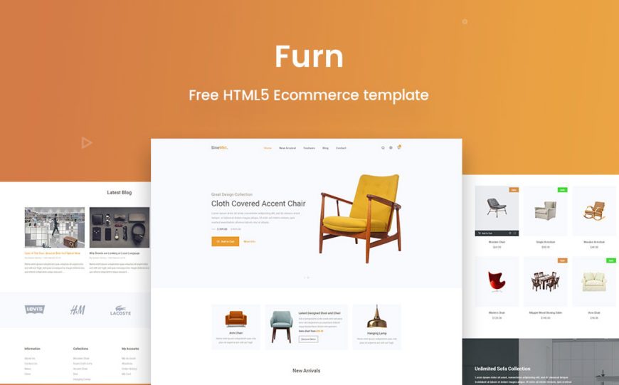 free responsive ecommerce template furn banner