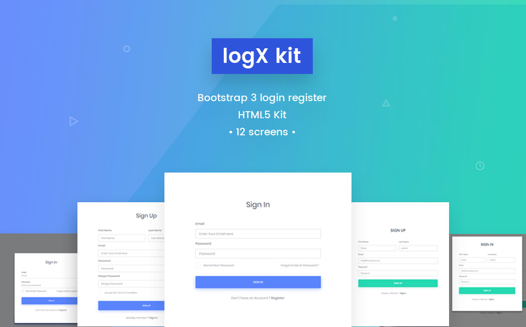 free bootstrap based login register html5 kit