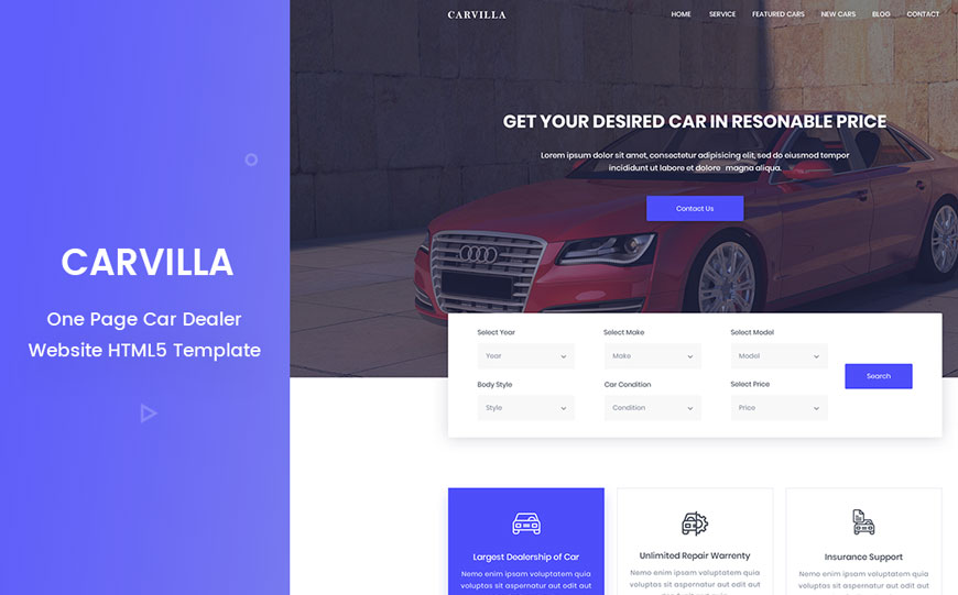 car dealer automotive website template