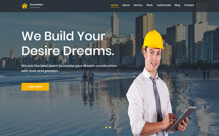 free construction agency bootstrap template